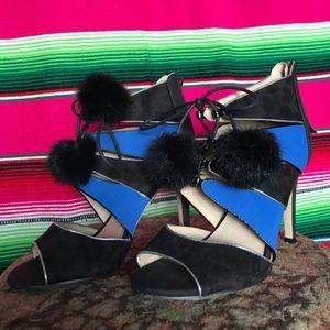 Catherine Malandrino Cut Out Heels w Pom Pom